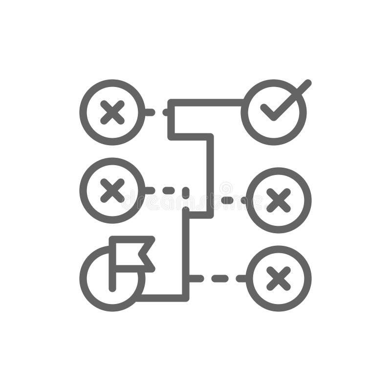 Correct solution, labyrinth, algorithm, coding block schemes line icon. stock illustration