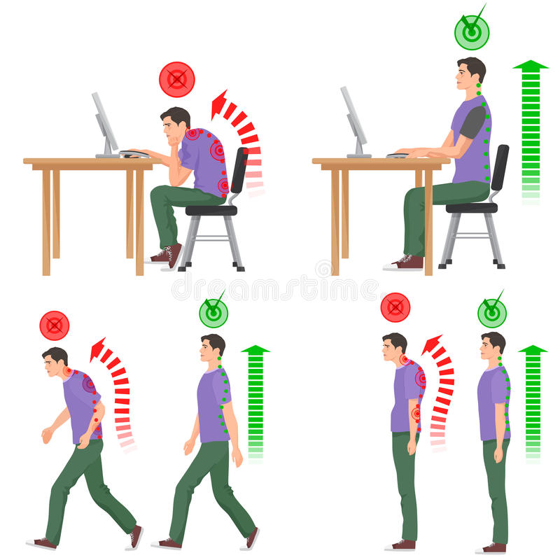 Correct and uncorrect bad sitting and walking position. Walking man. Sitting man. Back pain feeling and spinal injuries. vector illustration