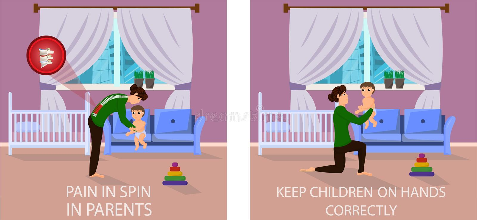 Correct and Wrong Positions for Holding Baby. stock illustration