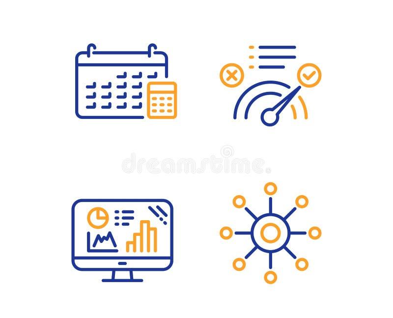Correcte antwoord, Kalender en Analytics-geplaatste grafiekpictogrammen Teken met meerdere kanalen Vector royalty-vrije illustratie
