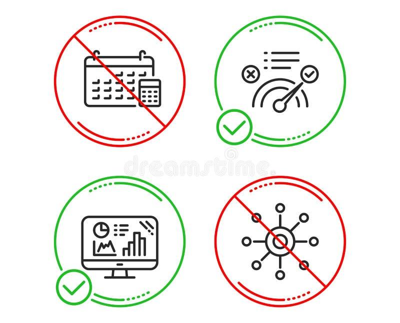 Correcte antwoord, Kalender en Analytics-geplaatste grafiekpictogrammen Teken met meerdere kanalen Vector stock illustratie