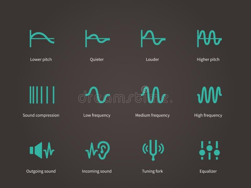 Correcte compressie en audio geplaatste golvenpictogrammen stock illustratie