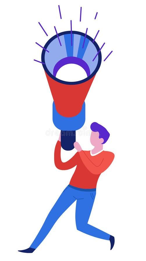 Correcte golfluidspreker of megafoonmens met megafoon stock illustratie