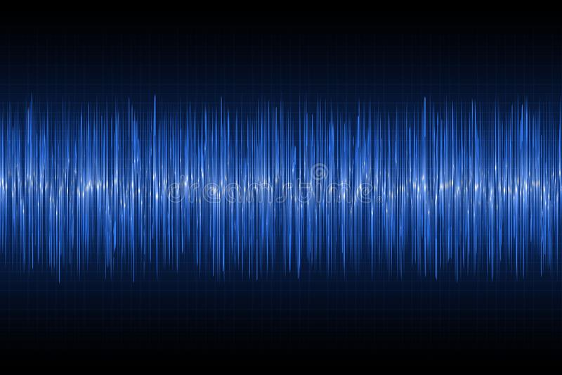 Correcte golven die op technologieachtergrond oscilleren De blauwe golf van de gloedmuziek Vector stock illustratie