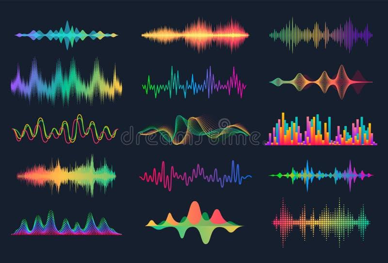 Correcte Golven Frequentie audiogolfvorm, de interfaceelementen van HUD van de muziekgolf, het signaal van de stemgrafiek Vector  royalty-vrije illustratie