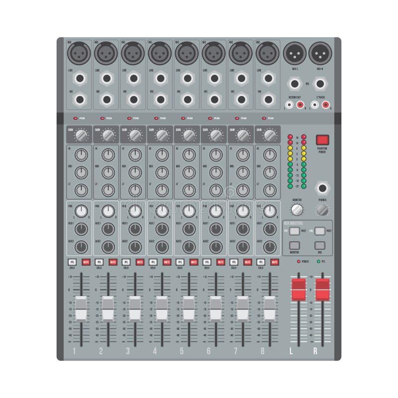Correcte mixer van de acht kanalen de professionele studio vector illustratie
