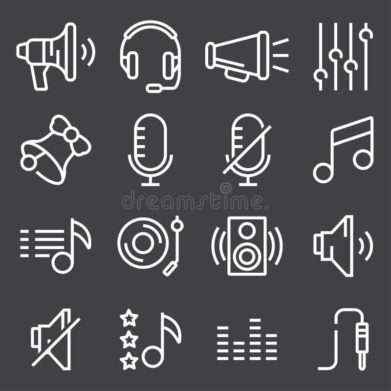 Correcte pictogrammen geplaatst vector, Audiodietekens, knopen, elementen op grijze achtergrond worden geïsoleerd vector illustratie