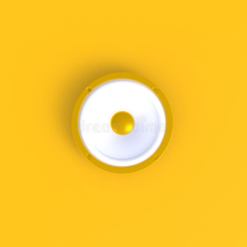 Correcte sprekers abstracte minimale gele achtergrond, Muziekconcept stock illustratie