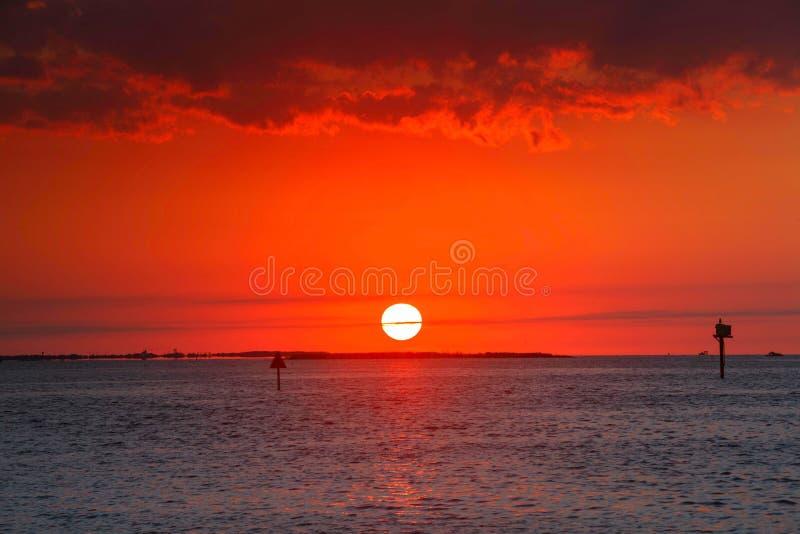 Correcte Zonsondergang Hatteras Noord-Carolina stock afbeeldingen