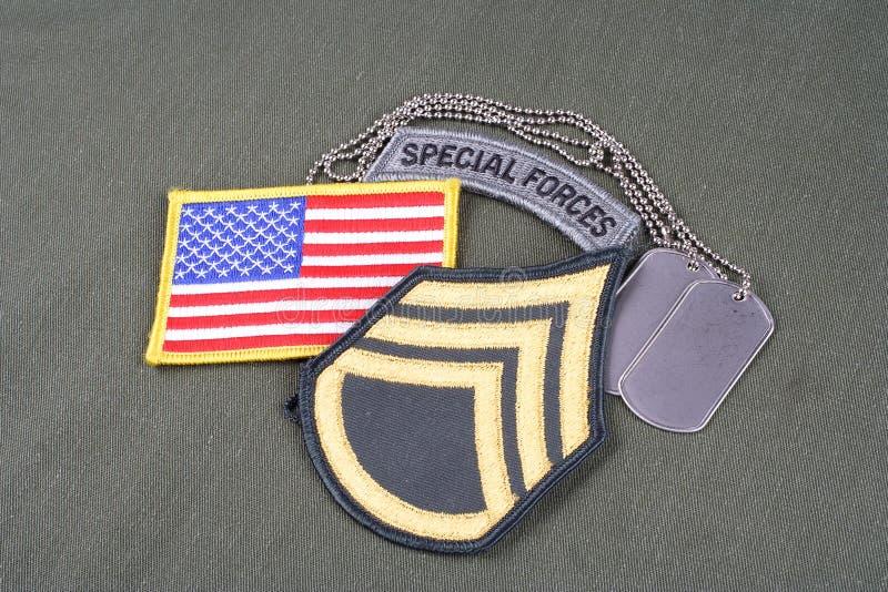 Correction luxuriante de sergent-chef de l'ARMÉE AMÉRICAINE, étiquette de forces spéciales, correction de drapeau et étiquette de images stock