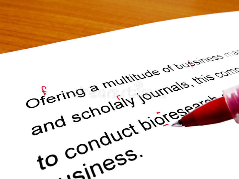 Correction rouge de stylo image stock