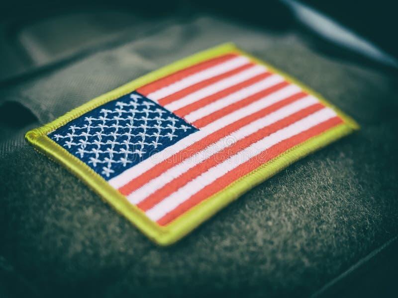 Correction stylisée de drapeau des Etats-Unis de vintage sur le Velcro image libre de droits