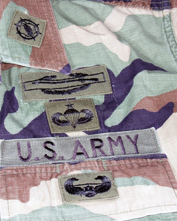 Corrections d'uniforme de vétéran de combat de l'armée américain photographie stock libre de droits