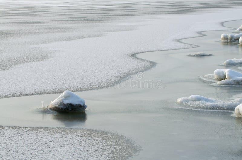 Corrections de dégel sur la rivière image libre de droits