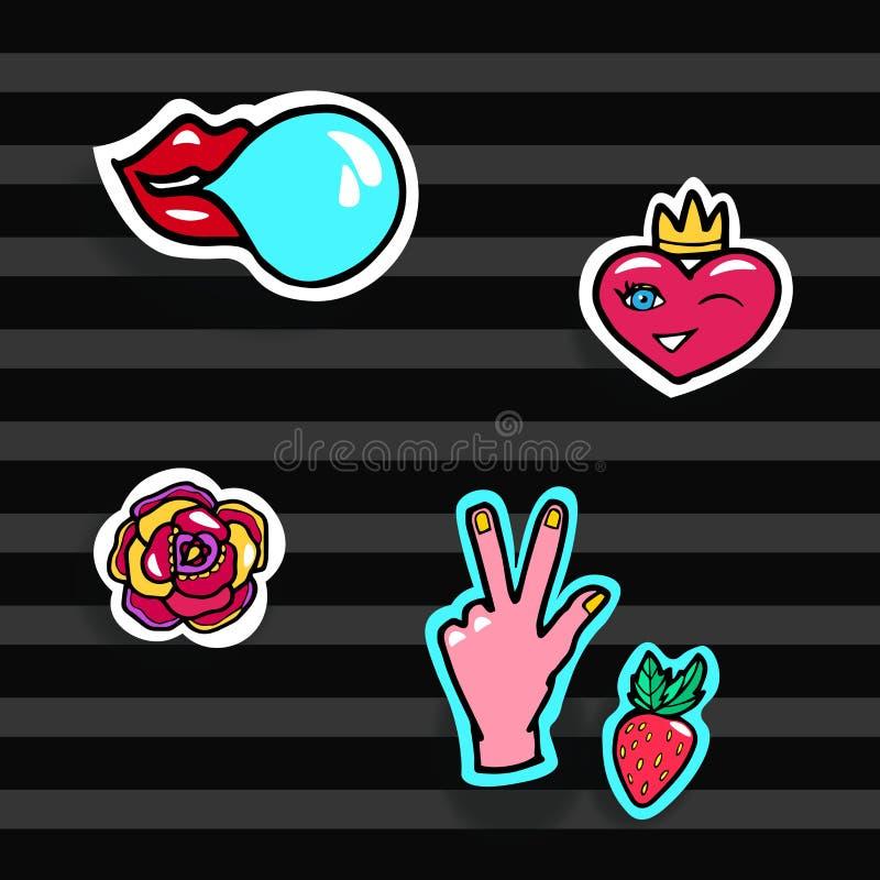 Corrections de mode réglées Bruit moderne Art Stickers Coeur, lèvres, mains, Rose, fraise Illustration de vecteur illustration de vecteur