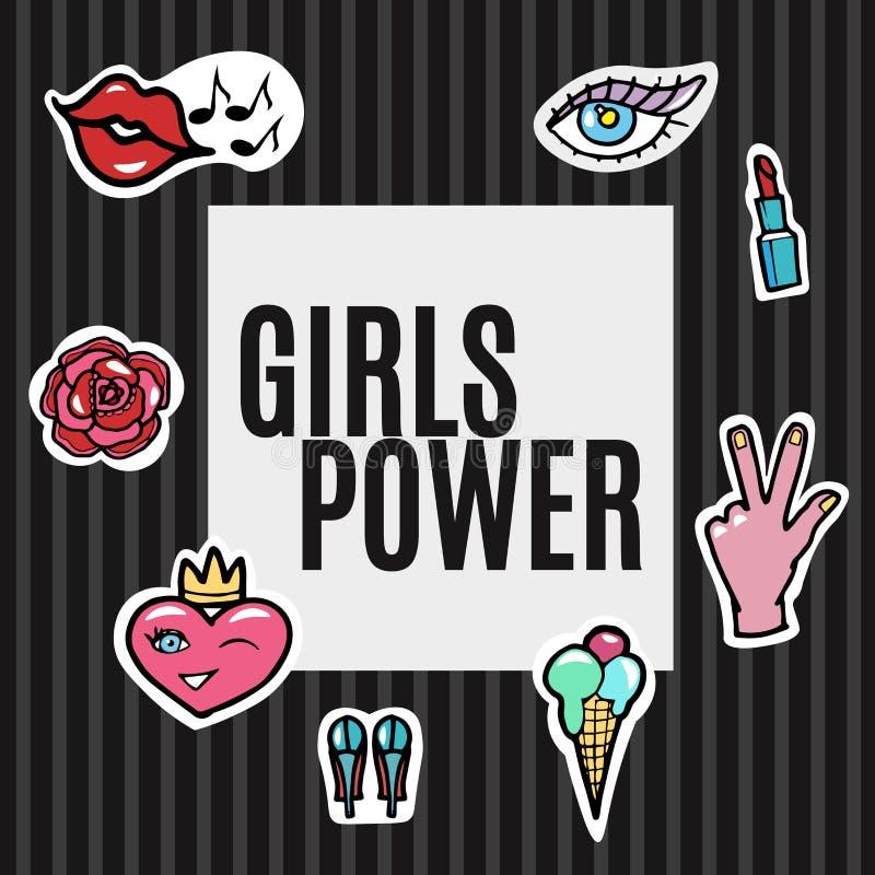 Corrections de mode réglées Puissance de filles Bruit moderne Art Stickers Lèvres, main, coeur, oeil Illustration de vecteur illustration libre de droits