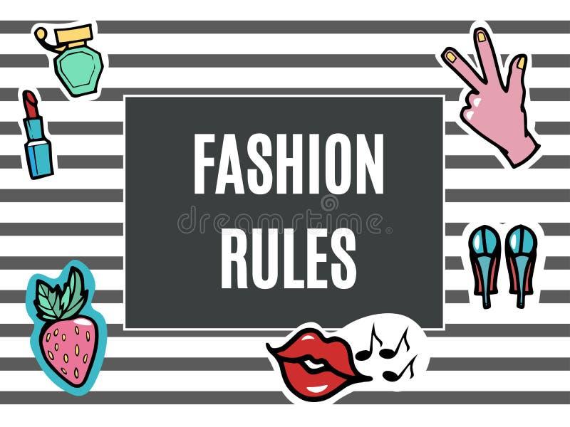 Corrections de mode réglées Règles de mode Bruit moderne Art Stickers Lèvres, main Fraise Illustration de vecteur illustration stock