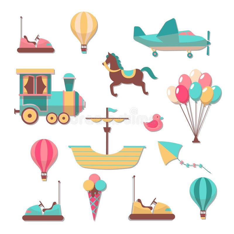 Corrections de Scrapbooking Autocollants mignons à la mode de jeux de carrousels de bande dessinée d'enfant d'amusement pour l' illustration stock