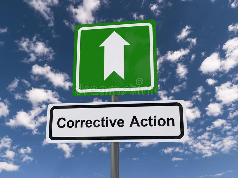 Corrective action road sign. With arrow, blue sky and cloudscape background stock photography