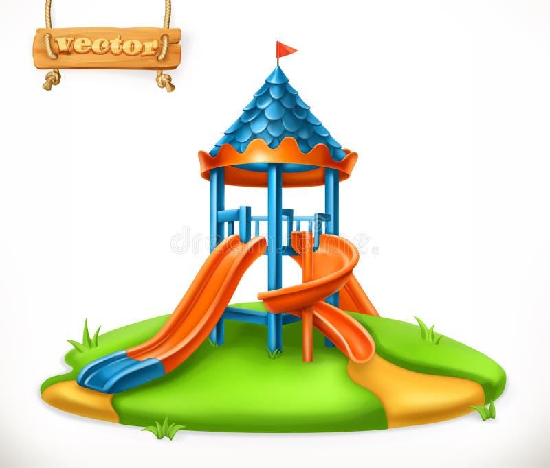 Corrediça do campo de jogos Área de jogo para crianças, ícone do vetor ilustração royalty free