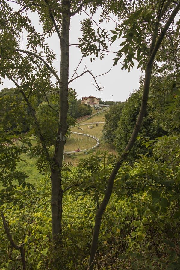 Corrediça gravitacional, corrida ao longo de um ano do toboggan na montagem St Anne, imagem de stock royalty free