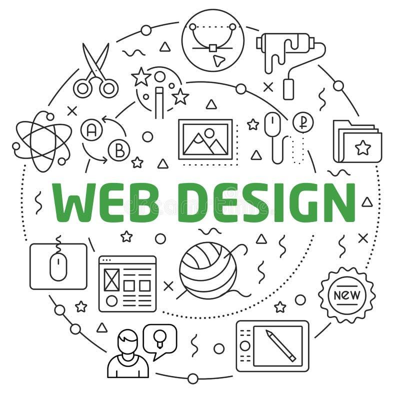 Corrediça linear da ilustração do design web para a apresentação ilustração do vetor