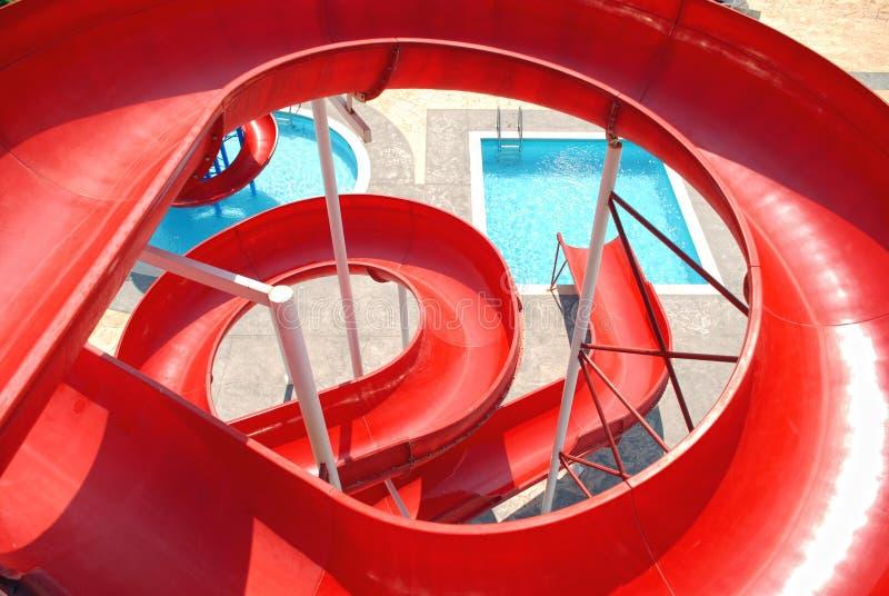 Corrediças de Aquapark fotografia de stock royalty free