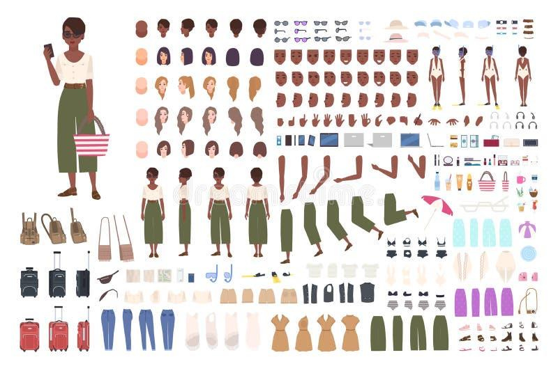 Corredo afroamericano di animazione della donna del viaggiatore Raccolta delle parti del corpo turistiche femminili, gesti, strum illustrazione vettoriale