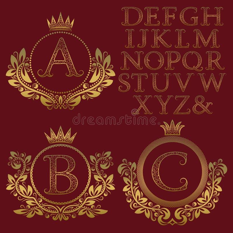 Corredo d'annata del monogramma Lettere modellate dorate e strutture floreali della stemma per creare logo iniziale nello stile a royalty illustrazione gratis