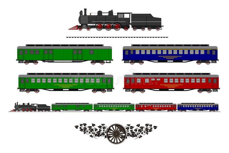 Corredo d'annata del treno illustrazione di stock
