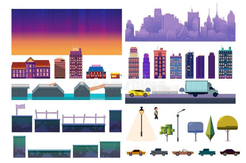 Corredo del livello del gioco della città di notte Raccolta di vettore per il video gioco su fondo bianco royalty illustrazione gratis