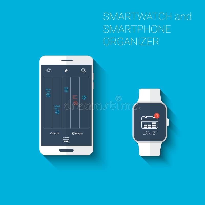 Corredo delle icone dell'interfaccia utente dell'organizzatore dello smartwatch e di Smartphone o del giocatore del calendario Co royalty illustrazione gratis