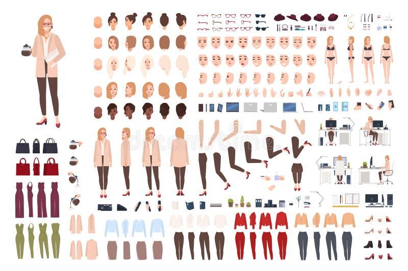 Corredo di aiuto segretario o del costruttore o della creazione femminile dell'ufficio Pacco delle parti del corpo graziose del p illustrazione di stock
