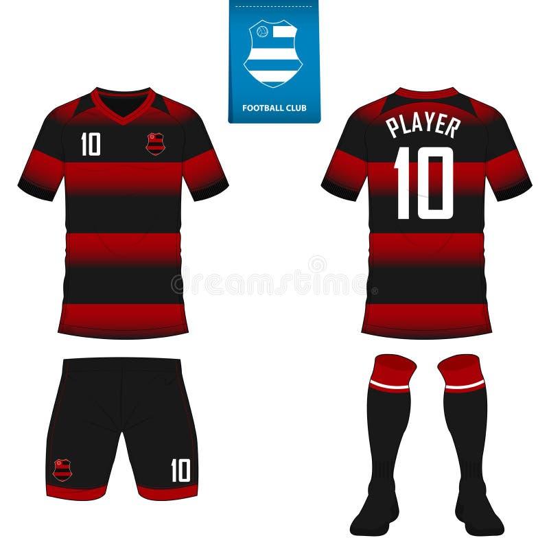 Corredo di calcio o modello del jersey di calcio per il club di calcio Breve derisione della camicia di calcio della manica su Un royalty illustrazione gratis