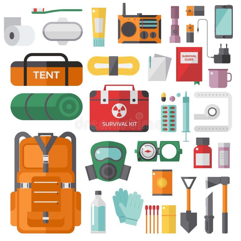 Corredo di emergenza di sopravvivenza per gli oggetti di vettore dell'evacuazione messi royalty illustrazione gratis