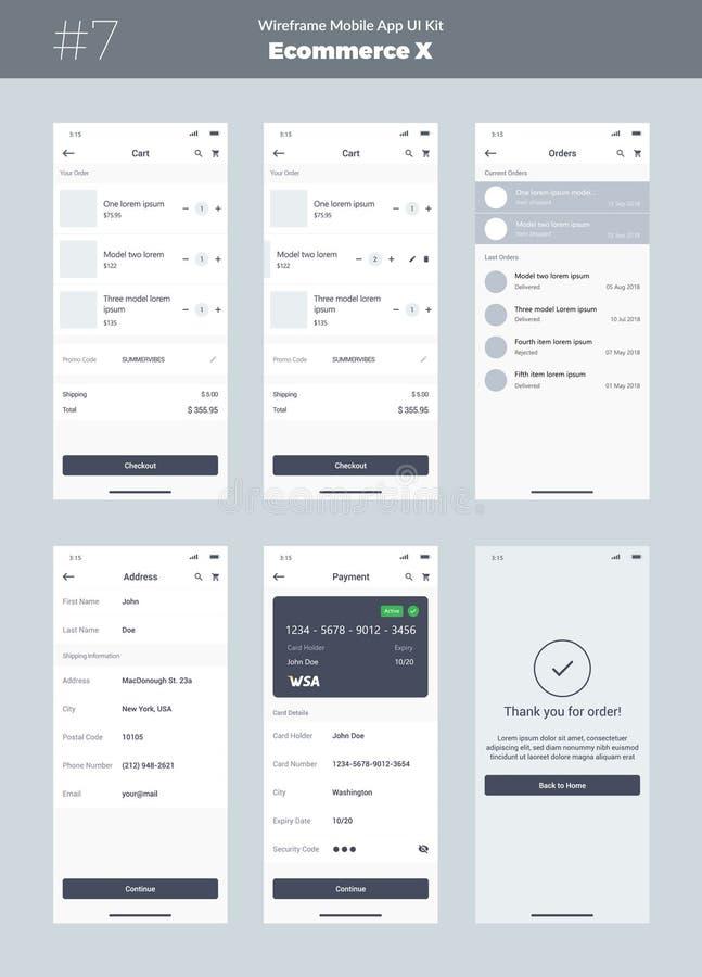 Corredo di Wireframe per il telefono cellulare Cellulare App UI, progettazione di UX Nuova interfaccia di commercio elettronico illustrazione vettoriale