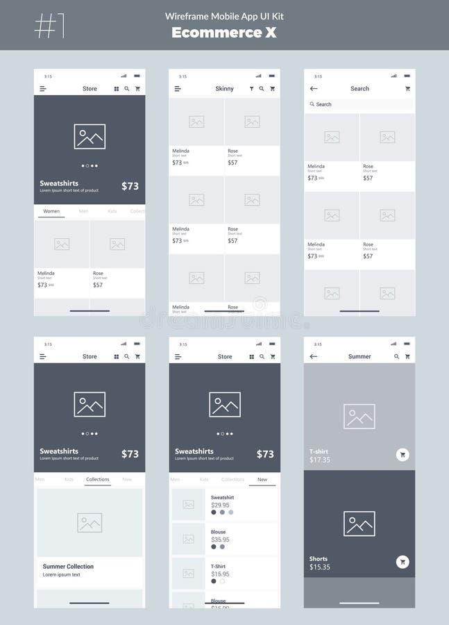 Corredo di Wireframe per il telefono cellulare Cellulare App UI, progettazione di UX Nuovi schermi di commercio elettronico illustrazione di stock