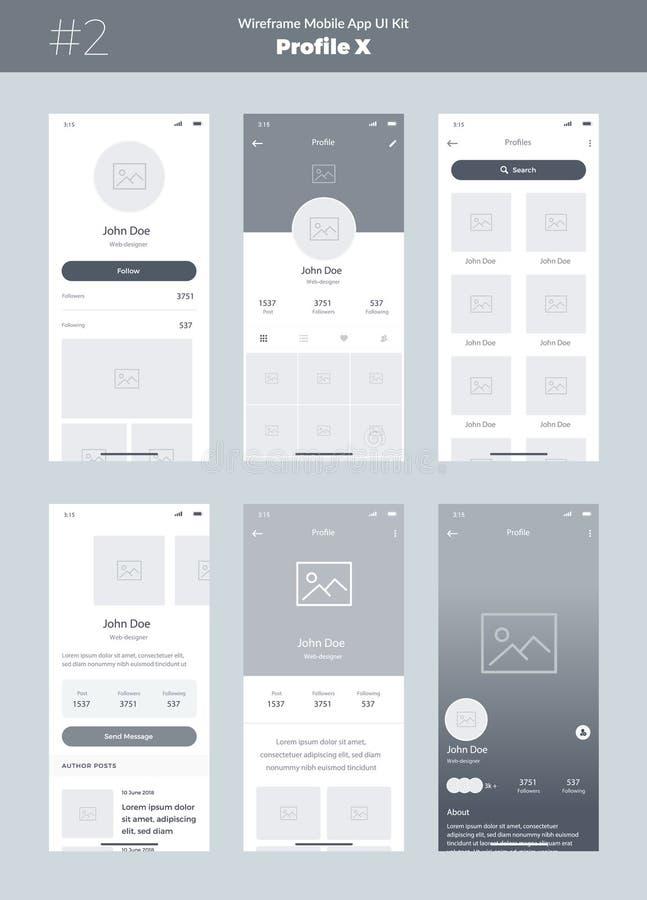 Corredo di Wireframe per il telefono cellulare Cellulare App UI, progettazione di UX Nuovi schermi di profilo illustrazione di stock