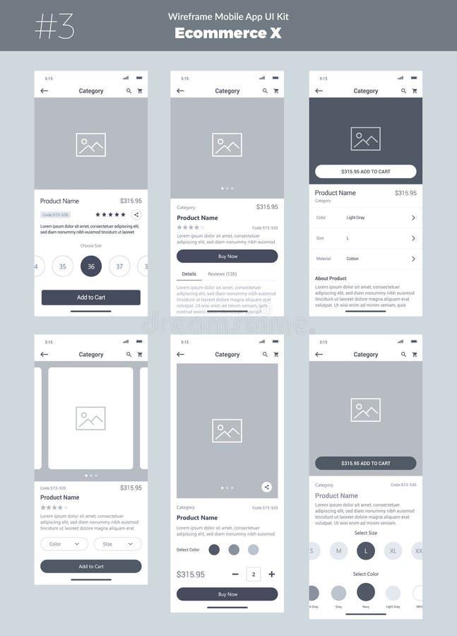 Corredo di Wireframe per il telefono cellulare Cellulare App UI, progettazione di UX Nuovo prodotto di commercio elettronico di O illustrazione di stock