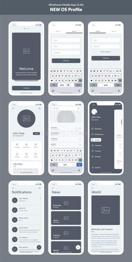 Corredo di Wireframe per il telefono cellulare Cellulare App UI, progettazione di UX Nuovo profilo di OS royalty illustrazione gratis