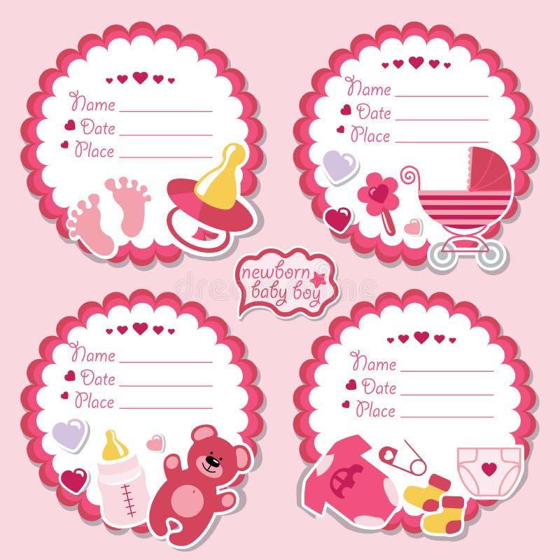 Corredo etichette sveglio con gli oggetti per la ragazza di neonato illustrazione vettoriale