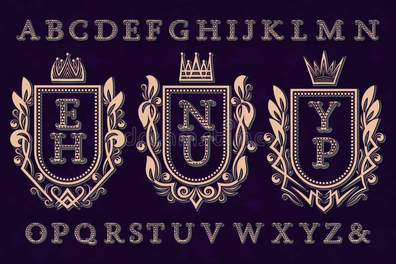 Corredo iniziale d'annata del logos Strutture della stemma, lettere modellate, alfabeto isolato royalty illustrazione gratis