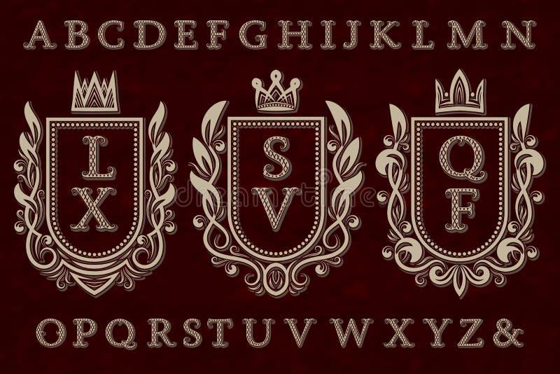 Corredo iniziale d'annata del logos Strutture della stemma, lettere modellate, alfabeto isolato illustrazione di stock