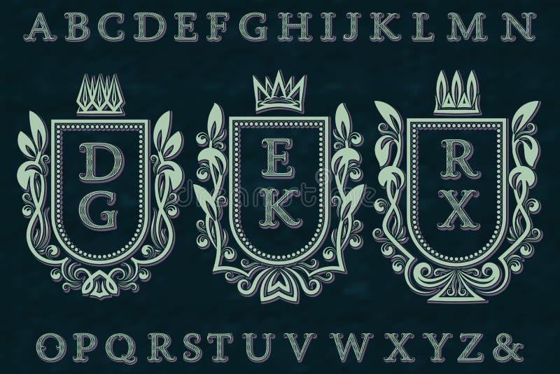 Corredo iniziale d'annata del logos Strutture della stemma, lettere modellate della banda ondulata, alfabeto isolato royalty illustrazione gratis