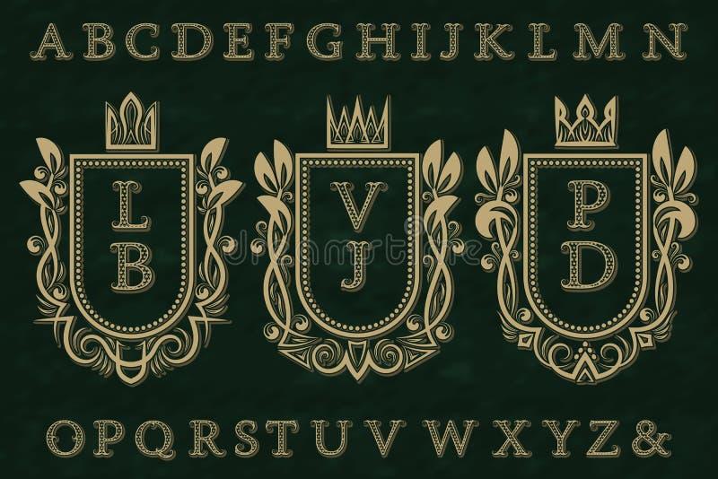 Corredo iniziale d'annata del logos Strutture della stemma, lettere modellate stellate, alfabeto isolato royalty illustrazione gratis