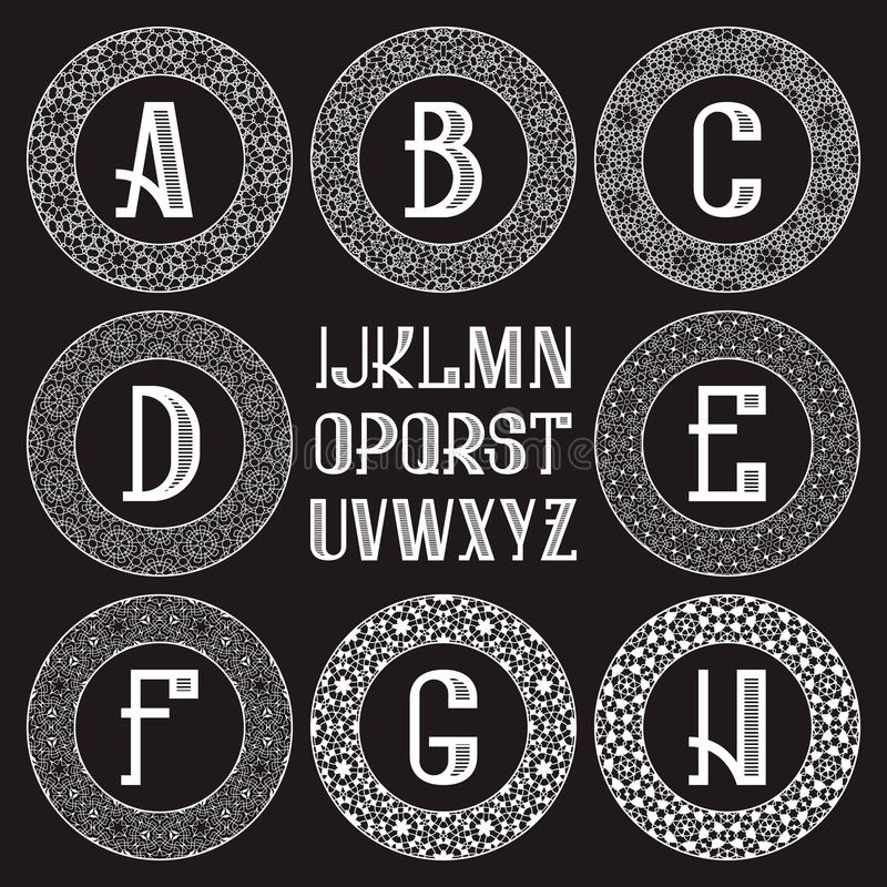 Corredo modellato del monogramma Lettere bianche e strutture rotonde ornamentali per creare logo iniziale nello stile orientale d illustrazione vettoriale