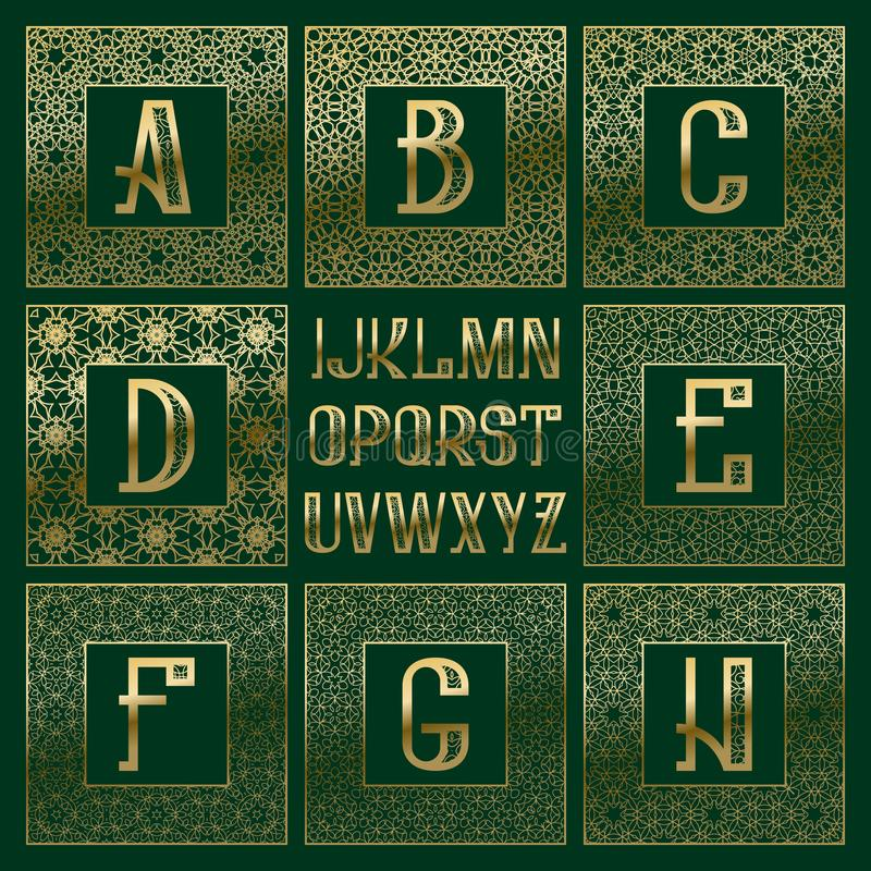 Corredo modellato del monogramma Lettere dorate e strutture quadrate ornamentali per creare logo iniziale nello stile orientale d illustrazione vettoriale