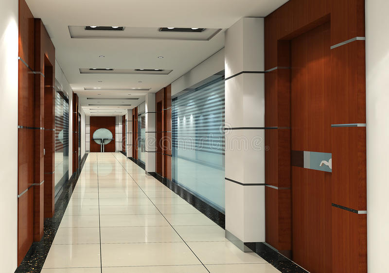 corredor 3d ilustração do vetor