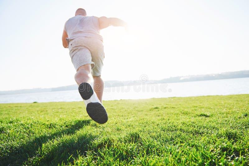 Corredor através dos campos exterior no conceito da luz do sol do verão para o exercício, a aptidão e o estilo de vida saudável F imagens de stock royalty free