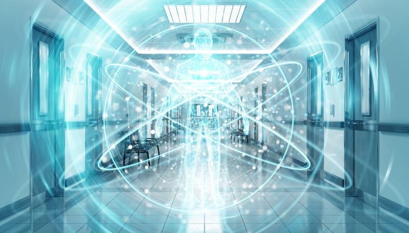 Corredor azul do hospital com o corpo digital do raio X que flutua na rendição das conexões 3D dos pontos ilustração do vetor